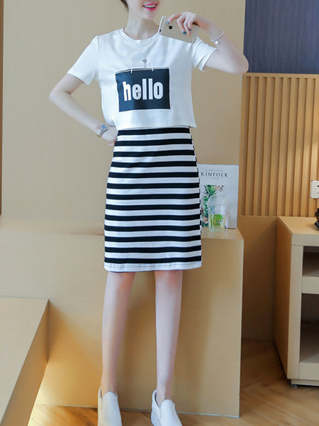 White and Black Two-Piece Plus Size Slim Round Neck Letter Printed Strapless Contrast Stripe Knee Length Dress for Casual Party
