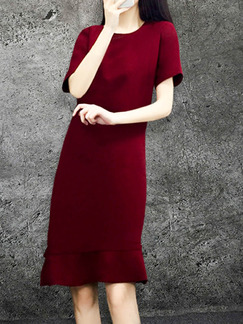 Red Plus Size Slim A-Line Round Neck Fishtail Above Knee Dress for Casual Office