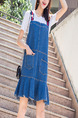 Blue Denim Loose A-Line Fishtail Contrast Strap Pockets Shift Above Knee Dress for Casual