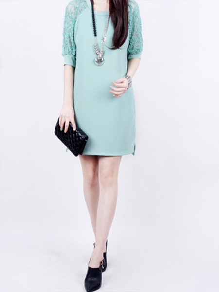 Green Plus Size Slim A-Line Round Neck Linking Lace See-Through Above Knee Dress for Casual Party
