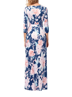 Blue and Pink Slim Printed Cross V Neck Band Belt Full Skirt Maxi Floral Dress for Casual Beach