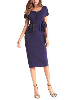 Blue Plus Size Slim V Neck Ruffle Band Belt Over-Hip Buttons Sheath Knee Length Dress for Casual Office Evening