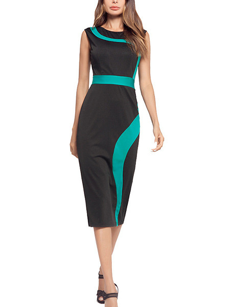 Black and Blue Green Plus Size Slim Round Neck Contrast Linking High Waist Over-Hip Sheath Midi Dress for Casual Office Evening