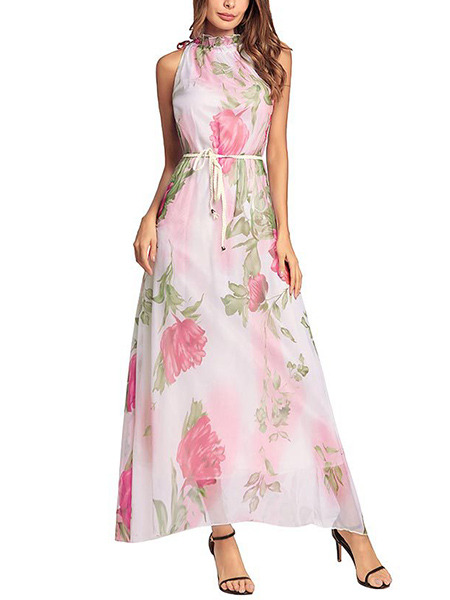 Pink Colorful Chiffon Plus Size Loose A-Line Laced Collar Double Layer Band  Floral Maxi Halter Dress for Casual Party Beach Evening