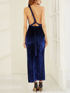 Blue Slim Cross Backless Maxi  Dress for Party Evening Cocktail