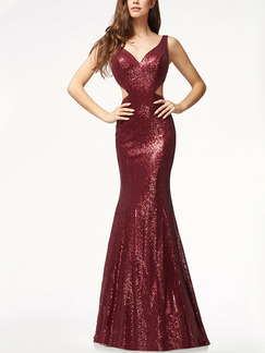 Red Slim Sequins Hang Neck Sling Open Back Over-Hip Fishtail Maxi Bodycon Backless Dress for Party Evening Cocktail Prom