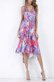 Colorful Slim Printed A-Line Sling V Neck Adjustable Waist Band Asymmetrical Hem Knee Length Dress for Casual Party Beach