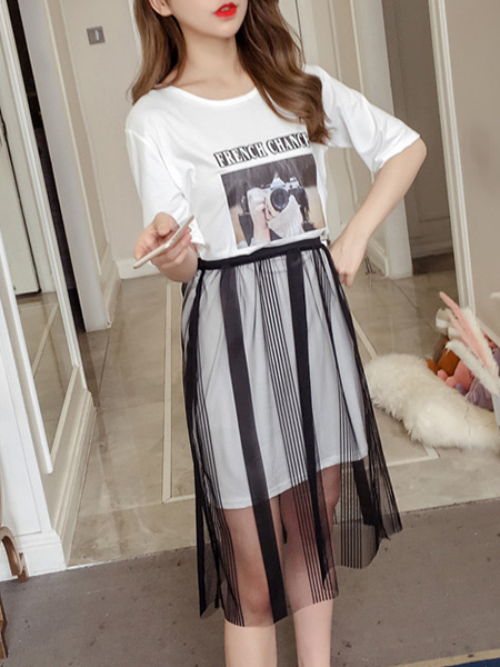 Black and White Two-Piece Plus Size Loose Round Neck Located Printing Letter Printed Linking Mesh See-Through Knee Length Dress for Casual