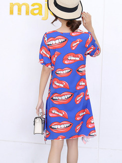 Blue Red and White Slim Printed Above Knee Shift Dress for Casual Party