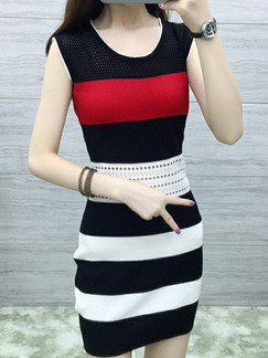 Black White and Red Bodycon Contrast Stripe Above Knee Dress for Casual Party