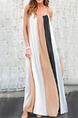 White Black and Khaki Loose Contrast Stripe Maxi Slip Dress for Casual Party
