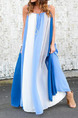 White and Blue Loose Contrast Stripe Maxi Slip Dress for Casual Party