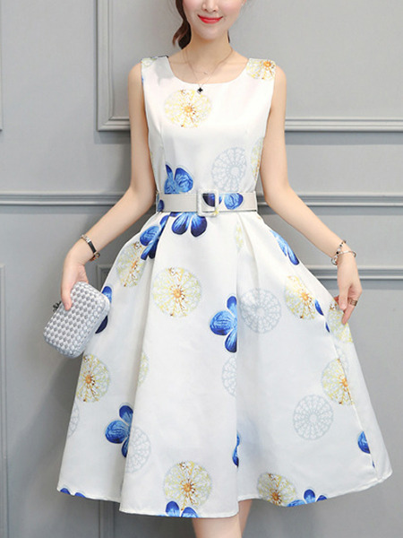 White Colorful Slim Printed Midi Fit & Flare Dress for Casual Party