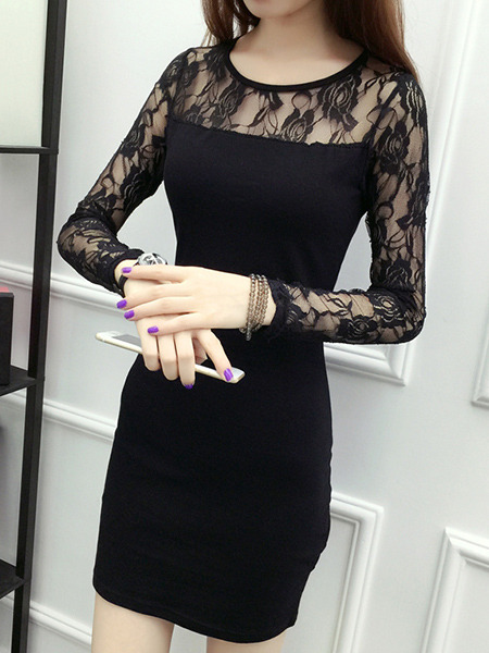 Black Bodycon Linking Mesh Above Knee Bodycon Long Sleeve Dress for Casual Party Nightclub