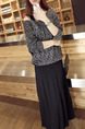 Black and Dark Grey Slim Knitting Maxi Long Sleeve Dress for Casual Party Evening
