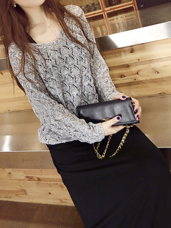 Black and Grey Slim Knitting Maxi Long Sleeve Dress for Casual Party Evening