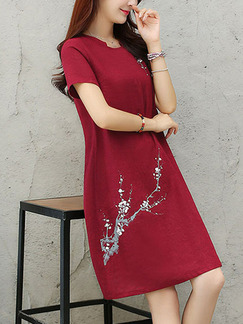 Red Slim Embroidery Knee Length Shift Dress for Casual Party