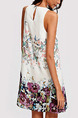 White Colorful Slim Located Printing Above Knee Shift Floral Dress for Casual Party