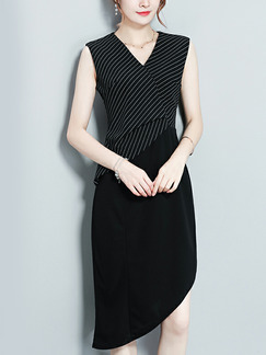 Black Slim Linking Stripe Asymmetrical Knee Length Dress for Evening Party Office
