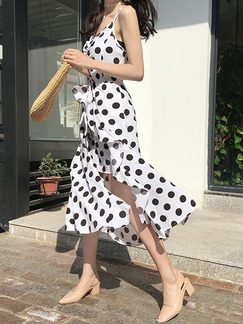 White and Black Slim Polka Dot Maxi Slip Dress for Casual Party Evening