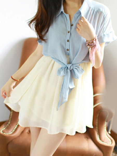 Beige and Blue Loose Seem-Two Lapel Fit & Flare Above Knee Dress for Casual Party