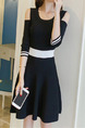 Black and White Slim Contrast Off-Shoulder Above Knee Fit & Flare Plus Size Dress for Casual Party