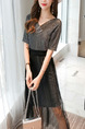 Dark Gray and Black Slim Bright Silk Mesh Midi V Neck Dress for Casual Party