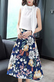 White and Colorful Slim Printed A-Line Two-Piece Midi Floral Plus Size Dress for Casual Party Office