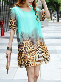 Green and Leopard Loose Linking Leopard Above Knee Shift Plus Size Dress for Casual Party Nightclub