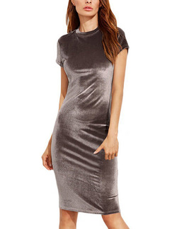 Brown Bodycon Velvet Over-Hip Knee Petite Plus Size Dress for Party Evening Nightclub