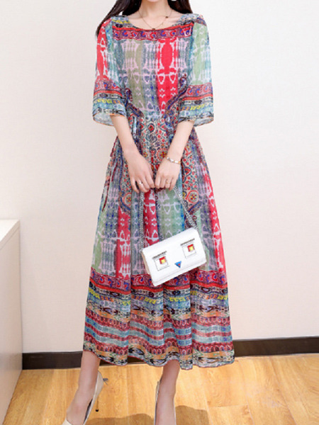 Colorful Slim Printed Maxi Plus Size Dress for Casual Party