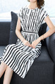 Black and White Loose Contrast Stripe Midi Plus Size Pockets Dress for Casual Party Office