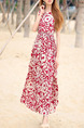Red Colorful Loose Printed Maxi Fit & Flare Dress for Casual Beach