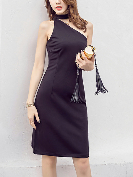 Black Slim Inclined-Shoulder Knee Length Sheath Plus Size Dress for Party Evening Cocktail Nightclub
