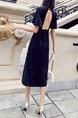 Black Slim Open Back Midi V Neck Knee Length Backless Dress for Casual Party Nightclub