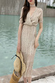 Beige Colorful Slim Floral Fishtail Maxi V Neck Dress for Casual Beach