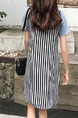 Blue White and Black Slim H-Shaped Seem-Two Stripe Above Knee Shift Plus Size Dress for Casual
