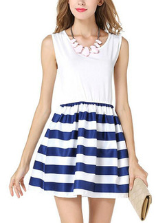 White and Navy Blue Slim Linking Stripe Above Knee Fit & Flare Dress for Casual Party