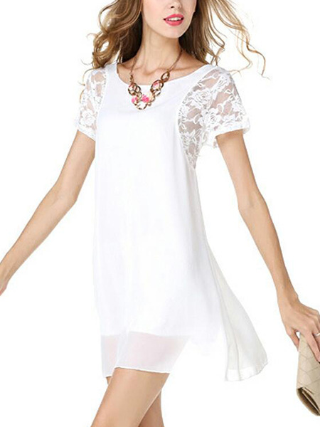 White Slim Linking Lace Above Knee Shift Plus Size Dress for Casual Party Evening