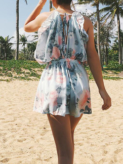 Colorful Loose Sling Siamese Shorts V Neck Slip Floral Plus Size Jumpsuit for Casual Beach Party
