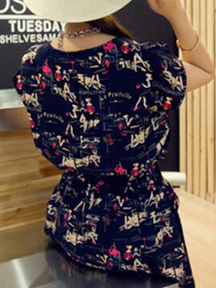 Colorful Loose Printed Above Knee Plus Size Dress for Casual Party