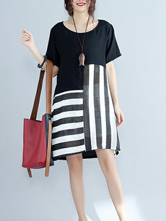 Black and White Loose Linking Stripe Knee Length Shift Plus Size Dress for Casual Party
