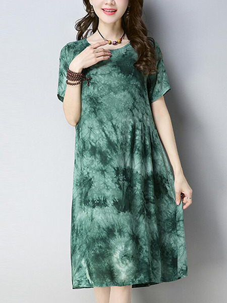 Ink Green Loose Printed Knee Length Shift Dress for Casual