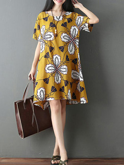 Colorful Yellow Loose Printed Above Knee Shift Plus Size Dress for Casual Party