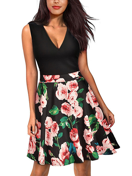 Black and Colorful Slim Linking Printed Above Knee Flare V Neck Floral Dress for Casual Party