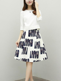 White and Blue Loose Printed A-Line Two-Piece Knee Length Plus Size Dress for Casual Party Office