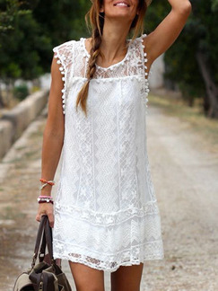White Loose Lace Tassel Above Knee Shift Plus Size Dress for Casual Party