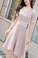 Soft Pink Slim Knitting Above Knee Fit & Flare V Neck Dress for Casual Party Evening Office