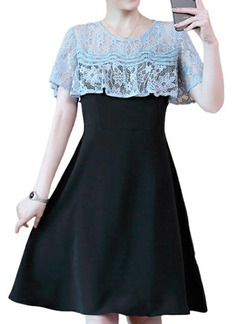 Black and Blue Slim Linking Lace Knee Length Fit & Flare Dress for Casual Party