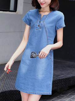 Light Blue Slim Denim Above Knee Shift Plus Size Dress for Casual Party